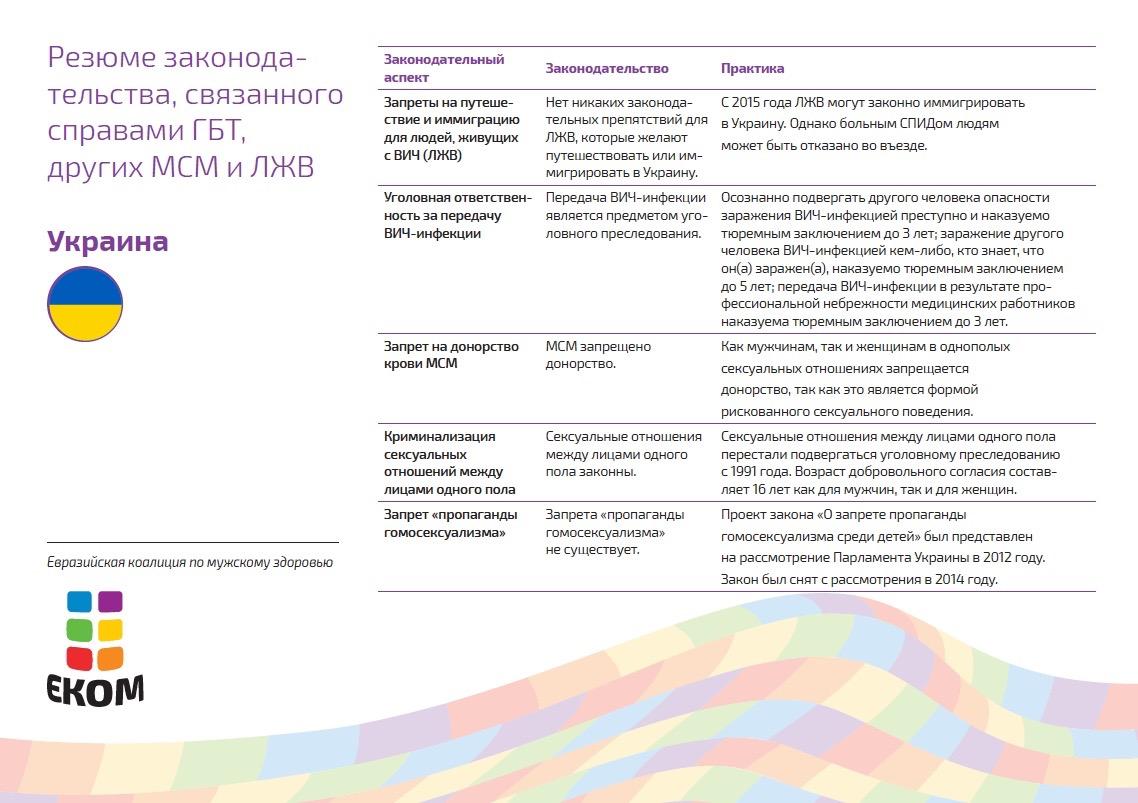 Украина недавно запретила дискриминацию на почве сексуальной ориентации и гендерной идентичности в сфере труда. Вместе с тем, государство не признает однополые союзы, не защищает сексуальные меньшинства от преступлений на почве ненависти и не пытается помочь транс*людям в решении проблем, возникающих при смене юридического пола. Влияние Европейского союза может способствовать дальнейшему развитию законодательства, связанного с защитой ЛГБТ. Надежду на это дает недавнее принятие антидискриминационного законопроекта и заявление Правительства о желании легализовать однополые союзы к 2018 году.
