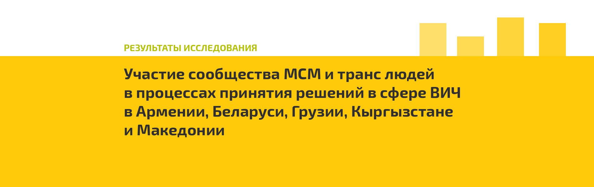 Документ показывает ситуацию с участием МСМ и транс людей в процессах принятия решений в Армении, Беларуси, Грузии, Кыргызстане и Македонии