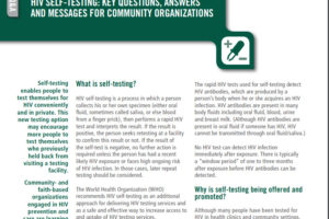 WHO Respond: HIV self-testing: key questions, answers and messages for community organizations